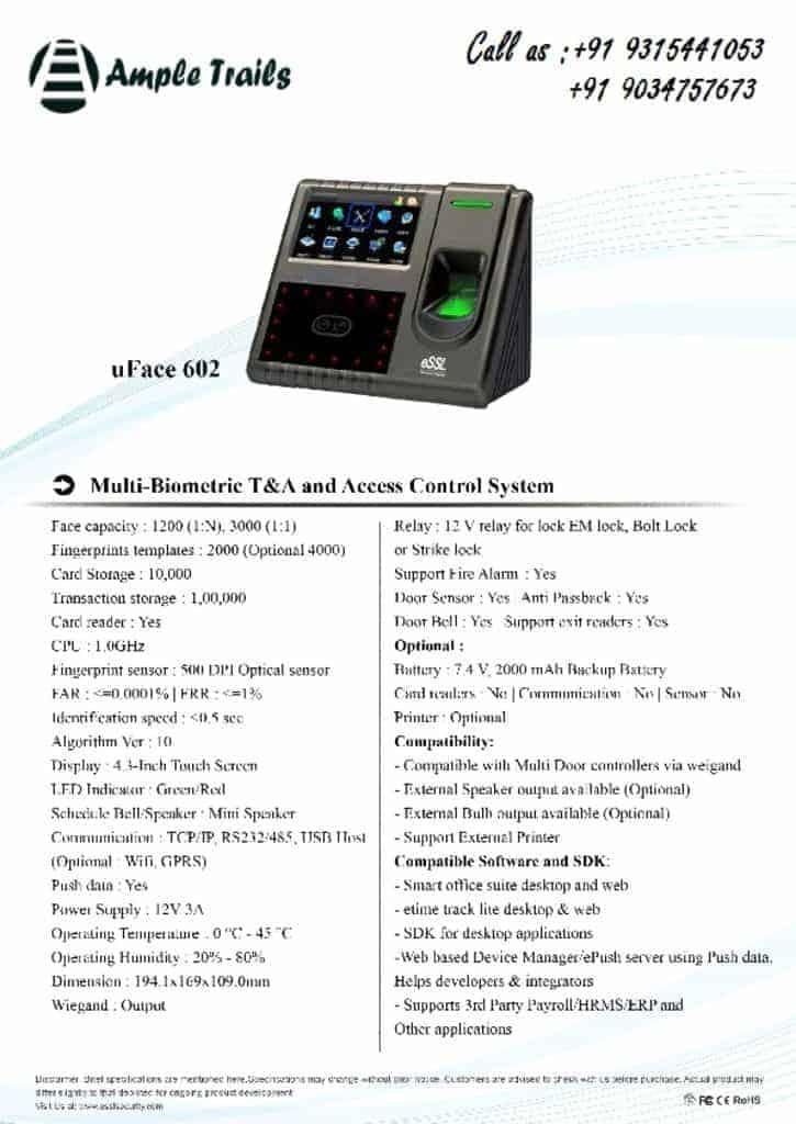 thumbnail of Biometric Time & Attendance uFace 602